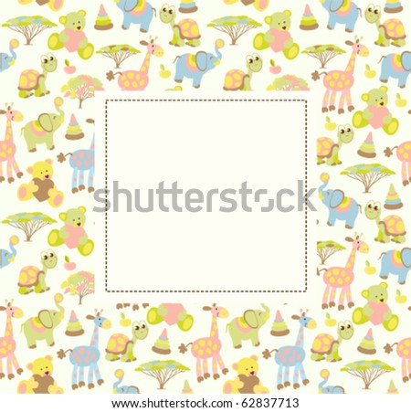 Baby greeting card or frame - stock vector