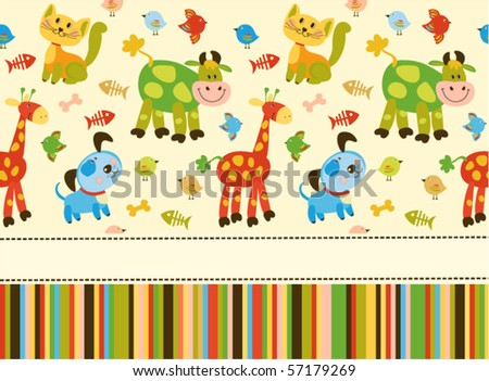 Baby greeting card or invitation - stock vector