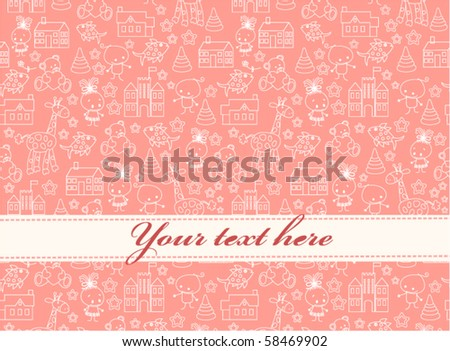 Baby greeting card or invitation, for girls - stock vector