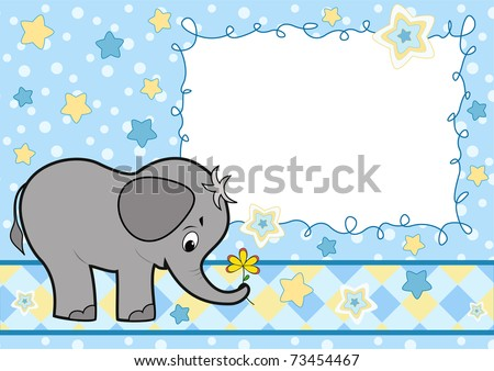 Baby greeting card with elephant. Vector illustration. - stock vector