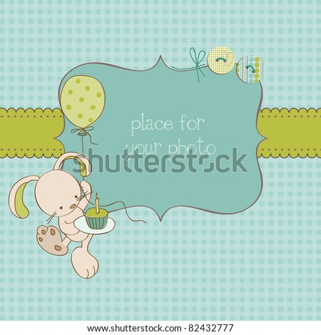 Baby Greeting Card with Photo Frame and place for your text in vector - stock vector