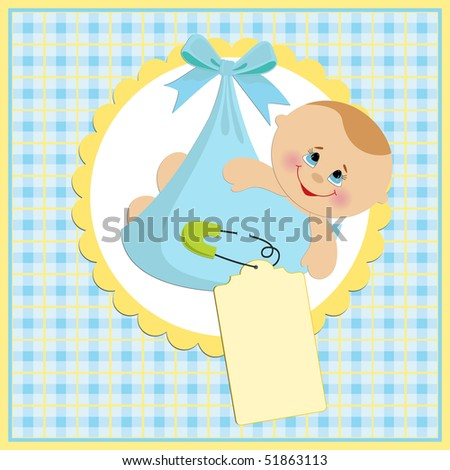 Baby greetings card with blue bundle (EPS10)