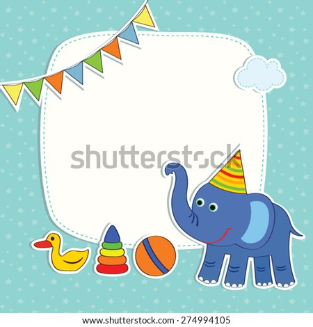 Baby Greetings Card Blue Elephant Pyramid Stock Vector 274994105 ...
