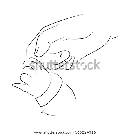 baby holding the hand of a parent - stock vector