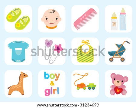 Baby icon collection. Use to create cute baby cards and baby shower invitations. - stock vector