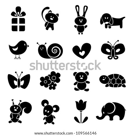 Baby icon set. EPS 8 vector illustration. - stock vector