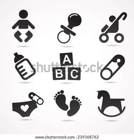 Baby icon set. Vector illustration. - stock vector