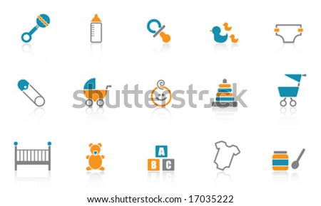 Baby Icons - Blue - stock vector