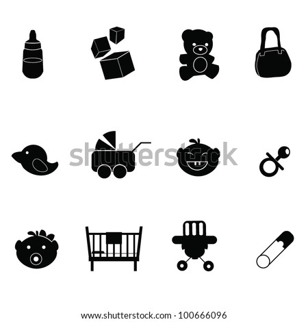 baby icons - for baby stuff, newborn, toddler and others - stock vector