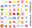 baby icons in color - stock vector