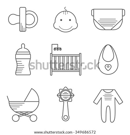 Baby icons in thin line style. Outline icons thin flat design, modern line stroke style, web and mobile design element. Vector illustration - stock vector
