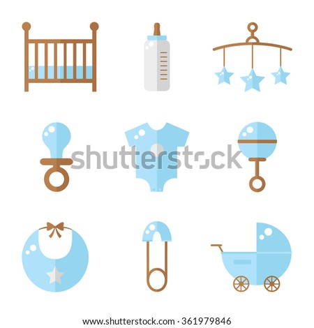 Baby icons isolated on white background. Cot, baby bottle, toys, clothes, rattle, baby pin, baby carriage, bib, soother. Baby boy icons set. Flat style vector illustration.  - stock vector