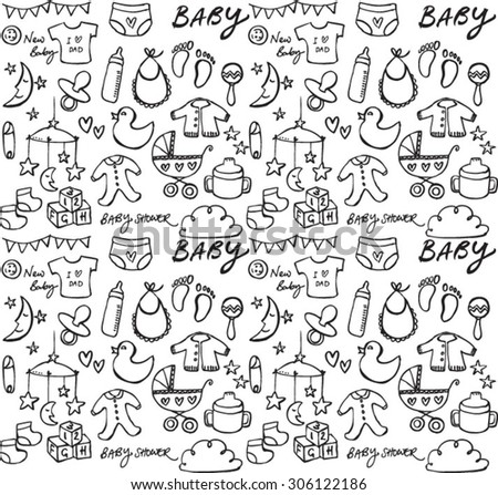 Baby icons seamless vector pattern - stock vector