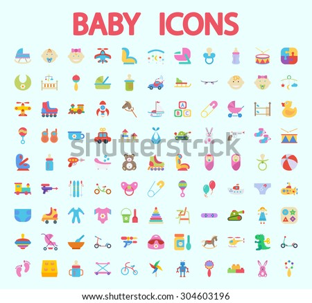 Baby icons set. Flat vector related icon set for web and mobile applications. It can be used as - logo, pictogram, icon, infographic element. Vector Illustration.  - stock vector