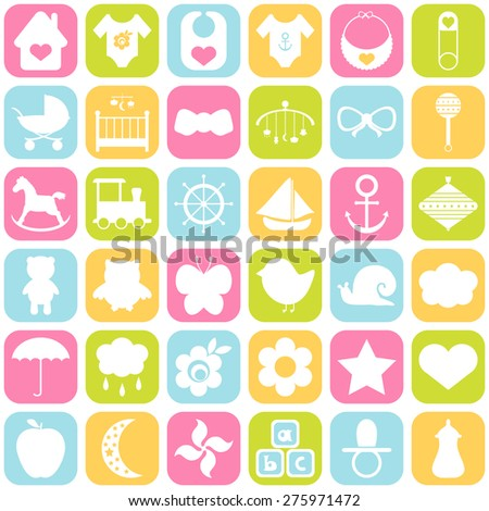 Baby icons set. For cards, invitations, wedding or baby shower albums, backgrounds, arts and scrapbooks. Vector illustration - stock vector