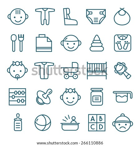 Baby icons set in thin line style. Dark blue lines on white background - stock vector