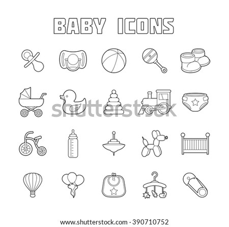 Baby Icons Set. Isolated Doodle baby labels Vector Illustration - stock vector