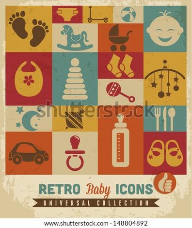 Baby icons set.Vector  - stock vector