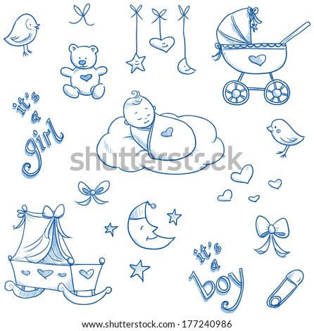 Baby icons, toys, teddy, pram, duckling, cradle, hand drawn sketch vector illustration - stock vector