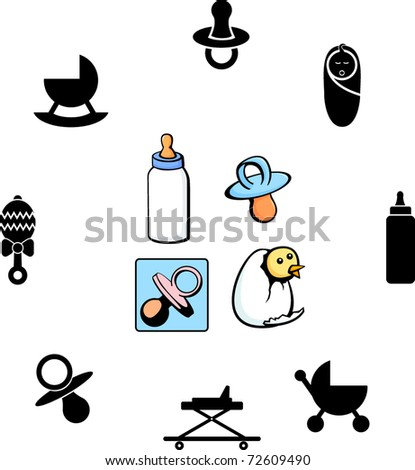baby illustrations and symbols set - stock vector