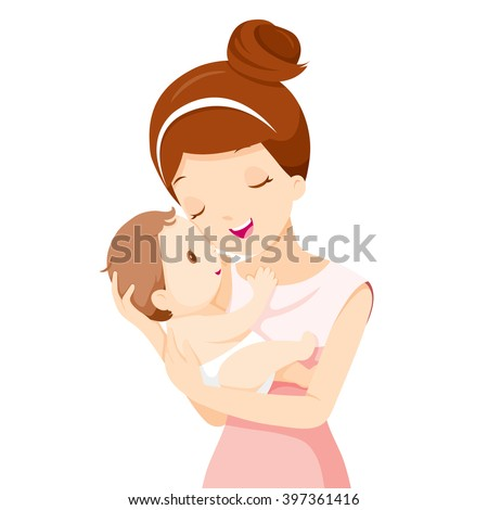 Baby In A Tender Embrace Of Mother, Mother's day, Mother, Baby, Infant, Motherhood, Love, Innocence - stock vector
