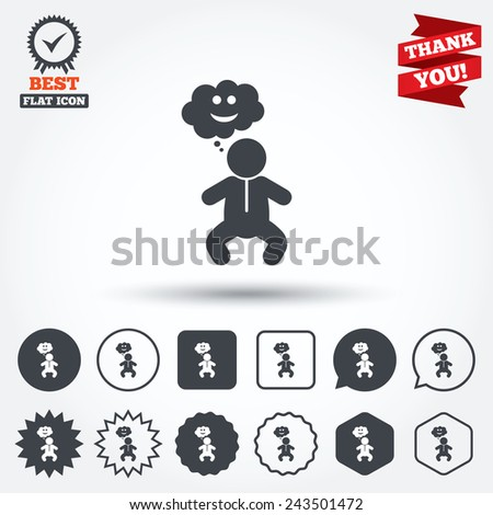 Baby infant happy think sign icon. Toddler boy in pajamas or crawlers body symbol. Circle, star, speech bubble and square buttons. Award medal with check mark. Thank you ribbon. Vector - stock vector