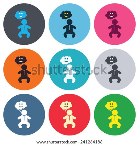 Baby infant happy think sign icon. Toddler boy in pajamas or crawlers body symbol. Colored round buttons. Flat design circle icons set. Vector - stock vector