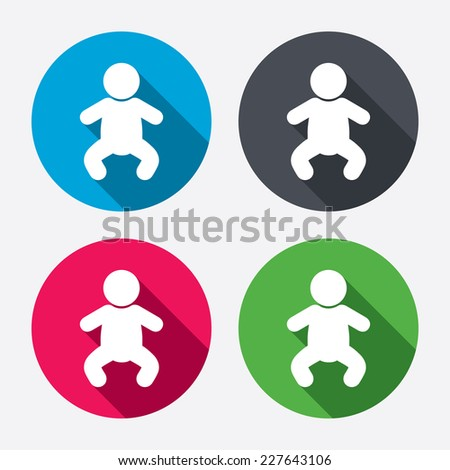 Baby infant sign icon. Toddler boy in pajamas or crawlers body symbol. Child WC toilet. Circle buttons with long shadow. 4 icons set. Vector - stock vector