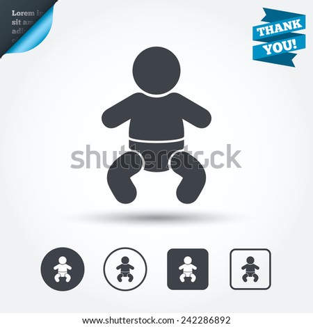 Baby infant sign icon. Toddler boy in pajamas or crawlers body symbol. Child WC toilet. Circle and square buttons. Flat design set. Thank you ribbon. Vector - stock vector