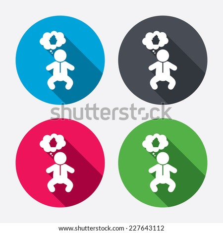 Baby infant think about food sign icon. Toddler boy in pajamas or crawlers body symbol. Circle buttons with long shadow. 4 icons set. Vector - stock vector