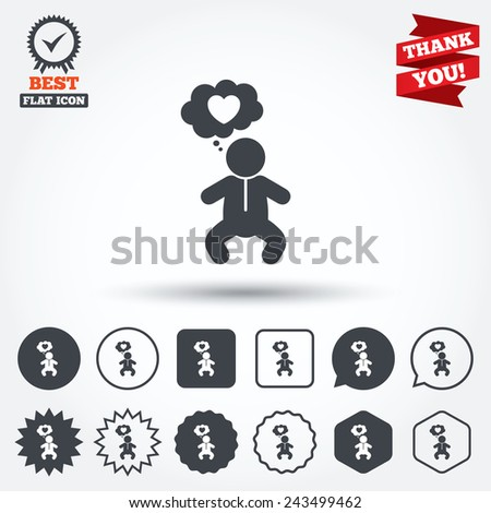 Baby infant think about love sign icon. Toddler boy in pajamas or crawlers body symbol. Circle, star, speech bubble and square buttons. Award medal with check mark. Thank you ribbon. Vector - stock vector