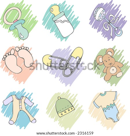 baby items - stock vector