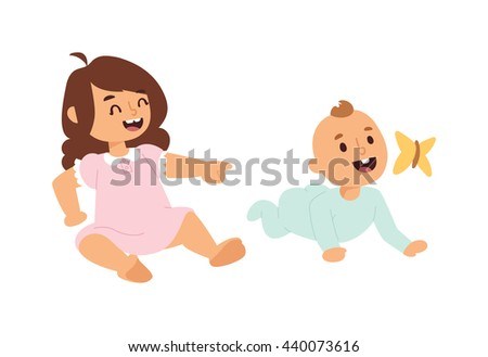 Baby kids sunny cute childhood. Newborn child playing baby kids. Nursery for young children. Bedding baby kids and new born kids and butterfly - stock vector