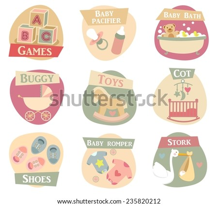 Baby life flat icons set - stock vector