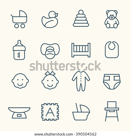 Baby line icons - stock vector