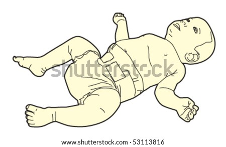 baby looking up - stock vector