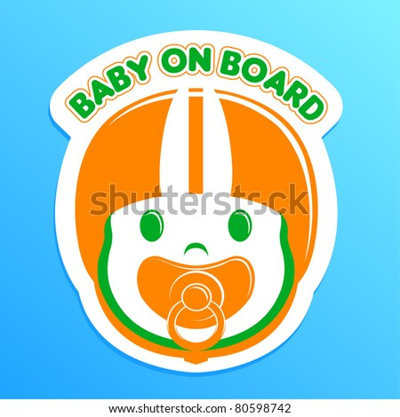 baby on board bumper sticker, vector illustration - stock vector