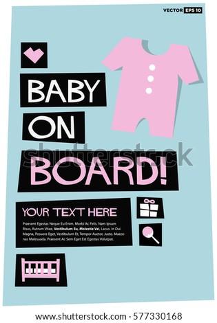 Baby On Board Flat Style Vector Stock Vector 577330168 - Shutterstock