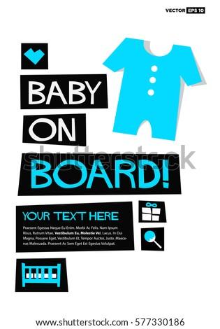 Baby On Board Flat Style Vector Stock Vector 577330171 - Shutterstock