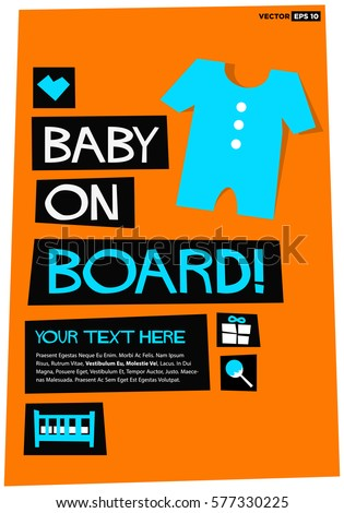 Baby On Board Flat Style Vector Stock Vector (2018) 577330225 ...