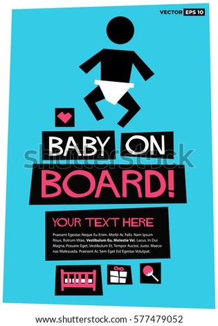 Baby On Board Flat Style Vector Stock Vector 577479052 - Shutterstock