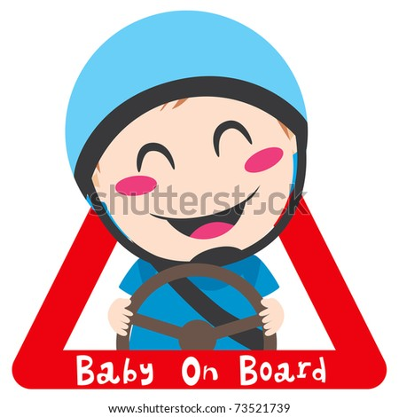 Baby on board red triangle warning sign for safe driving with blue helmet - stock vector