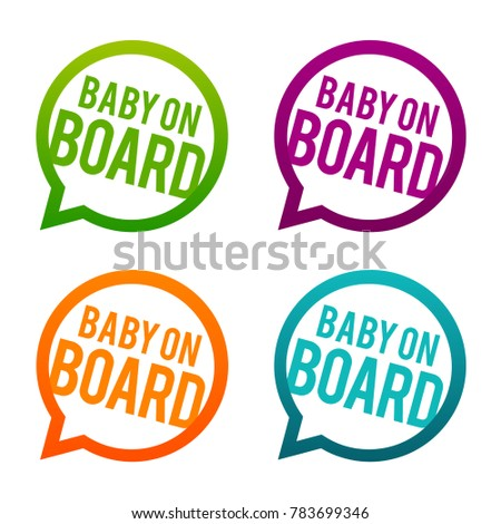Baby on Board round Buttons. Circle Eps10 Vector.