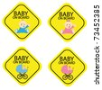 Baby on board warning signals. - stock vector