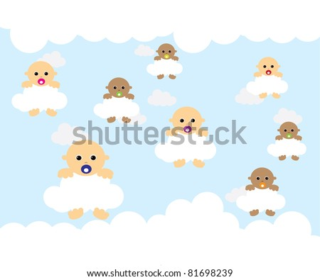 Baby on cloud - stock vector