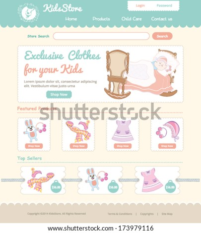 Baby on line store web template - stock vector