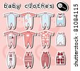 Baby Onesie template in pink and blue - stock vector