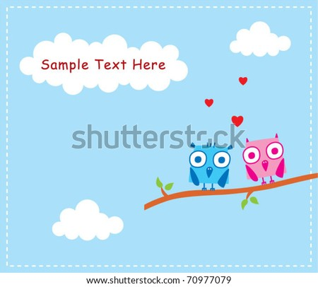 baby owl valentine greeting - stock vector