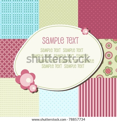 Baby patchwork pattern with text frame, vector - stock vector
