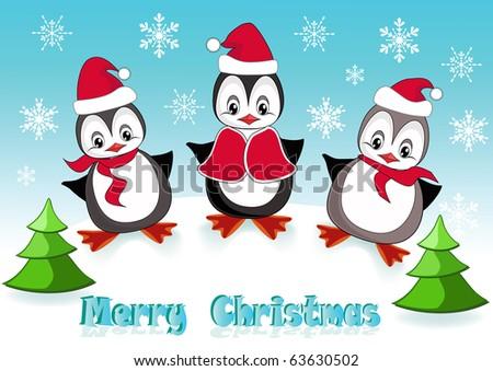 Baby penguins. Christmas postcard. Vector illustration. - stock vector